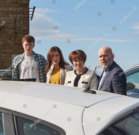 Stock Photo of Barry Aird as Darren Tripp, Charlotte Pyke as Jade Gill, Josh Barrow as Riley Gill and Marian McLoughlin as Tine Tripp.