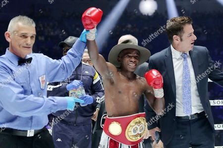 South African champion Moruti Mhtalane is declared the winner by the referee after beating Japanese challenger Akira Yaegashi in their IBF flyweight world boxing title match in Yokohama, southwest of Tokyo,. Mhtalane defended his title by a technical knockout in the ninth round