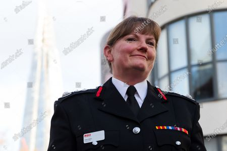 London Fire Commissioner (LFC), Dany Cotton smiles after making a speech from a vintage fire engine after being greeted by members and family of the Fire Brigade on her final day in office. Hundreds of firefighters lined Union Street in London today to provide a Guard of Honour on the final day in office for London Fire Commissioner, Danny Cotton.