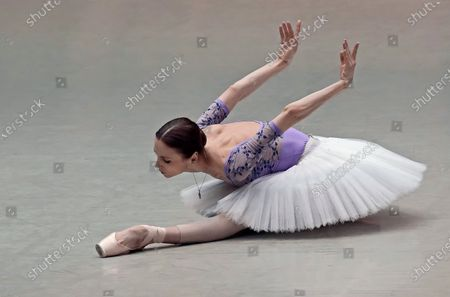 Prima ballerina of Bolshoi Theatre Svetlana Zakharova during the open rehearsal of the joint program on the upper stage of Bolshoi Theatre.