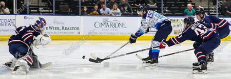 Jacksonville Icemen left wing Mike Hedden (8) scores past South Carolina Stingrays goaltender Logan Thompson (32) during the first period of an ECHL hockey game at Veterans Memorial Arena in Jacksonville, Fla., [Gary Lloyd McCullough/CSM]