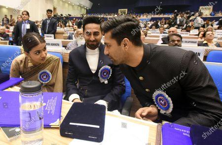 Actor Keerthy Suresh talks with Vicky Kaushal and Ayushmann Khurranna