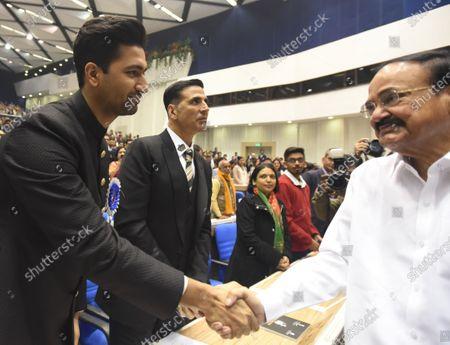 Vice President M Venkaiah Naidu meets Actors Vicky Kaushal and Akshay Kumar