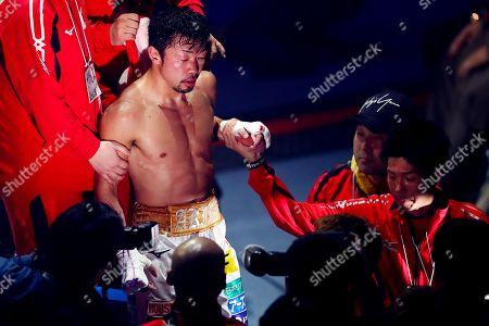 Akira Yaegashi following the bout