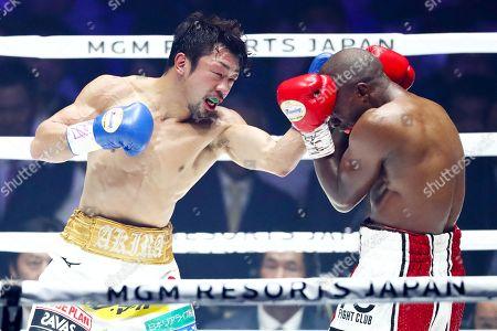 Akira Yaegashi in action against Moruti Mthalane