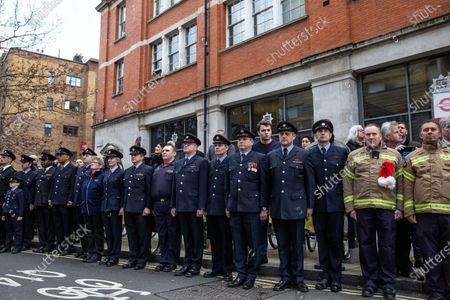 Stock Photo of Firefighters hold a 'Guard of Honour' for outgoing LFB commissioner Dany Cotton, who quit in the aftermath of the Grenfell Fire report.