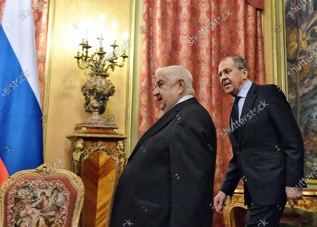 Minister of Foreign Affairs of Syria Walid Muallem (left) and Minister of Foreign Affairs of Russia Sergey Lavrov (right) during the meeting in the Reception House of the Russian Ministry of Foreign Affairs.