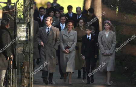 Stock Photo of From left, Britain's Prince Edward, Earl of Wessex and his wife Sophie, Countess of Wessex, with their children, Britain's Lady Louise Windsor and James, Viscount Severn arrive for a Christmas day service at the St Mary Magdalene Church in Sandringham in Norfolk, England