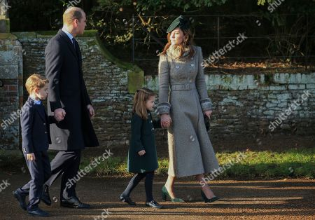 Britain's Prince William, Duke of Cambridge and Catherine, Duchess of Cambridge walk with their children Prince George and Princess Charlotte outside the St Mary Magdalene Church in Sandringham in Norfolk, England
