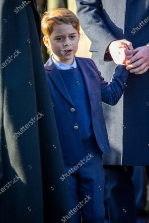 Prince George at the Christmas Day morning church service at St Mary Magdalene Church