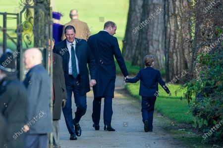 Prince William and Prince George at the Christmas Day morning church service at St Mary Magdalene Church