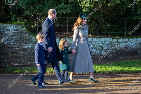 Prince William and Catherine Duchess of Cambridge with Prince George and Princess Charlotte at the Christmas Day morning church service at St Mary Magdalene Church