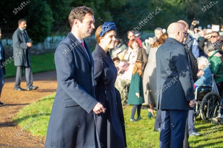 Stock Picture of Jack Brooksbank and Princess Eugenie at the Christmas Day morning church service at St Mary Magdalene Church