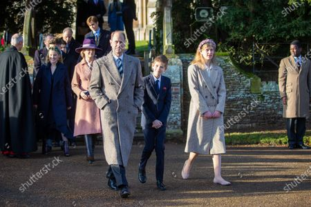 Prince Edward, James Viscount Severn and Lady Louise Windsor at the Christmas Day morning church service at St Mary Magdalene Church