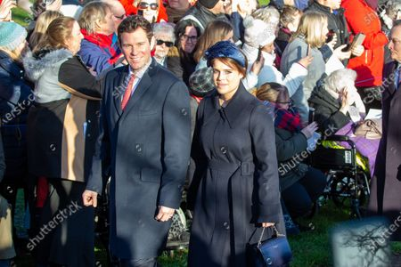 Jack Brooksbank and Princess Eugenie at the Christmas Day morning church service at St Mary Magdalene Church
