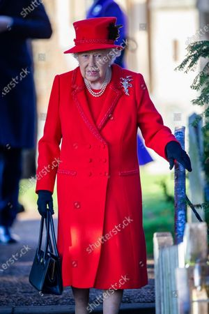 Queen Elizabeth II at the Christmas Day morning church service at St Mary Magdalene Church