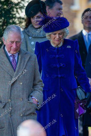 Prince Charles and Camilla Duchess of Cornwall at the Christmas Day morning church service at St Mary Magdalene Church