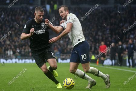 Adam Webster of Brighton and Hove Albion and Harry Kane of Tottenham Hotspur during Tottenham Hotspur vs Brighton & Hove Albion, Premier League Football at Tottenham Hotspur Stadium on 26th December 2019