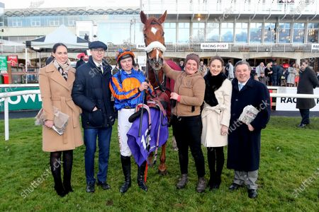 The Racing TV Flat Race. Jockey Tom Hamilton with trainer Joseph O'Brien and the winning connections after winning with Risk Factor