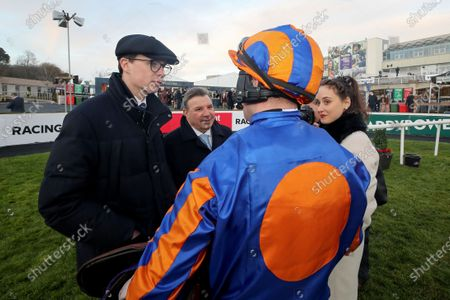 The Racing TV Flat Race. Jockey Tom Hamilton with trainer Joseph O'Brien after winning with Risk Factor