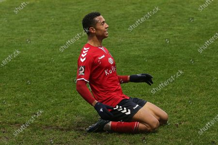 Alex Reid of Ebbsfleet scores the first goal for his team and celebrates during Dagenham & Redbridge vs Ebbsfleet United, Vanarama National League Football at the Chigwell Construction Stadium on 26th December 2019