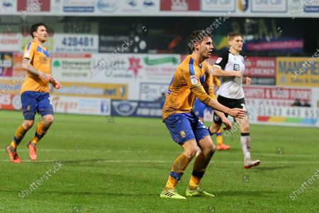 Mansfield Town forward Danny Rose (32) sees his just go wide of the post during the EFL Sky Bet League 2 match between Mansfield Town and Port Vale at the One Call Stadium, Mansfield