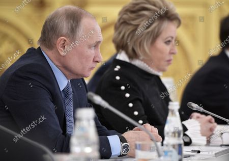 Russian President Vladimir Putin (L) and Russian Federation Council Chairperson Valentina Matviyenko (R) attend a State Council meeting on state agricultural policy at the Kremlin in Moscow, Russia, 26 December 2019.