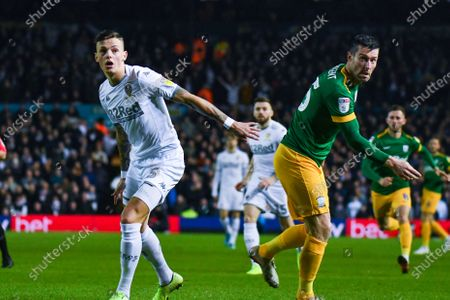 Leeds United defender Ben White (5) and Preston North End forward David Nugent (35) in action during the EFL Sky Bet Championship match between Leeds United and Preston North End at Elland Road, Leeds