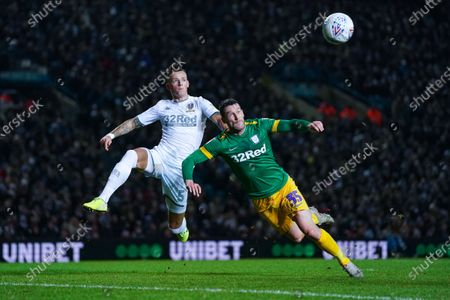 Preston North End forward David Nugent (35) and Leeds United defender Ben White (5) in action during the EFL Sky Bet Championship match between Leeds United and Preston North End at Elland Road, Leeds