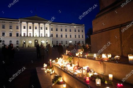Candles were placed during a vigil for late Ari Behn, at the foot of equestrian statue of King Karl Johan in front of Royal Palace in Oslo, Norway, 26 December 2019. The author and former husband of Norway's Princess Matha Louise, Ari Behn has died at the age of 47, his spokesman said on 26 Dcember 2019.