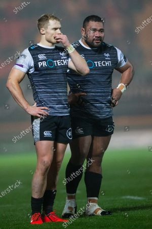 Stock Picture of Aled Davies and Ma'Afu Fia of Ospreys