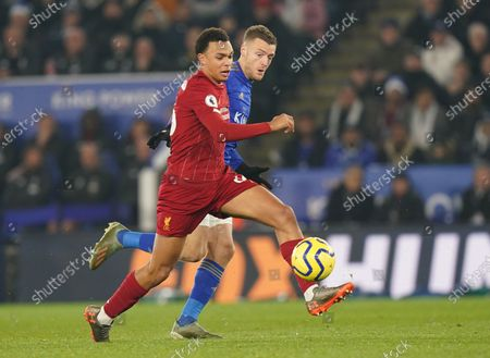 Liverpool's Trent Alexander Arnold (L) in action against Leicester City's Jamie Vardy (R), during the English Premier league soccer match between Leicester City and Liverpool held at the King Power stadium in Leicester, Britain, 26 December 2019.  EPA-EFE/TIM KEETON  EDITORIAL USE ONLY.  No use with unauthorized audio, video, data, fixture lists, club/league logos or 'live' services. Online in-match use limited to 120 images, no video emulation. No use in betting, games or single club/league/player publications.