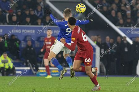 Jamie Vardy (9) & Trent Alexander-Arnold (66) during the Premier League match between Leicester City and Liverpool at the King Power Stadium, Leicester