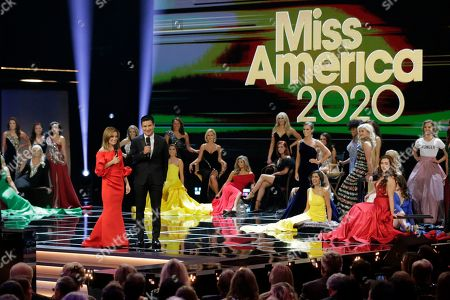 Hosts Kit Hoover and Mario Lopez during the Miss America competition at the Mohegan Sun casino in Uncasville, Conn