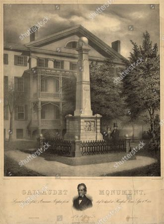 Stock Photo of This circa 1855 lithograph made available by the Library of Congress shows a monument by Albert Newsam in front of the American School for the Deaf in Hartford, Conn. The school has begun restoring the 165-year-old monument that honors the schools founder, Thomas Gallaudet, and hopes to have the obelisk on its front lawn of its West Hartford campus by September 2020