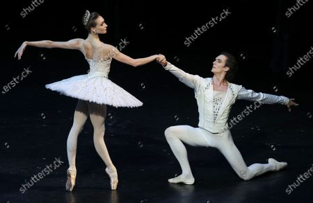 Ballet dancers Olga Smirnova (L) and Artemy Belyakov (R) perform during the Diamonds ballet of the New Year gala event at the Bolshoi Theater in Moscow, Russia, 26 December 2019.
