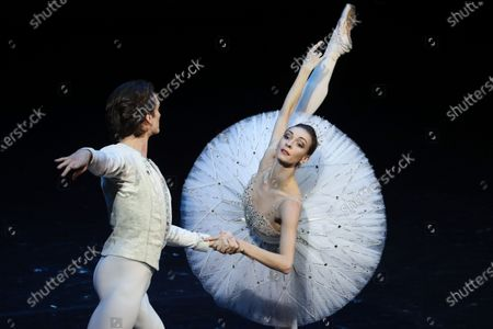 Ballet dancers Olga Smirnova (R) and Artemy Belyakov  (L) perform during the Diamonds ballet of the New Year gala event at the Bolshoi Theater in Moscow, Russia, 26 December 2019.