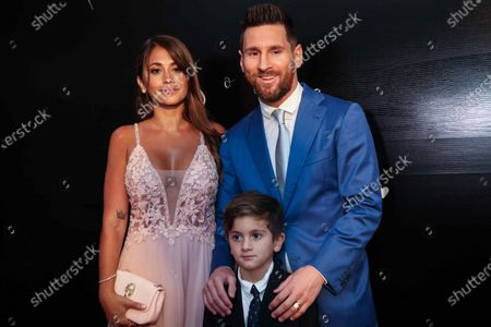 Barcelona soccer player Lionel Messi with his wife Antonella Roccuzzo and their son pose during the vows renewal ceremony of the Uruguayan Luis Suarez and his wife Sofia Balbi, in Montevideo, Uruguay, 26 December 2019.