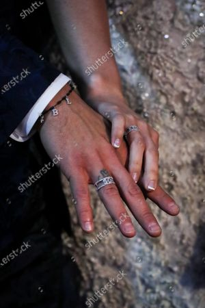 FC Barcelona's Uruguayan soccer player Luis Suarez (L) and his wife Sofia Balbi (R) hold hands during a ceremony to renew their marriage vows, in Montevideo, Uruguay, 26 December 2019.