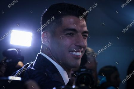 FC Barcelona's Uruguayan soccer player Luis Suarez reacts following a ceremony to renew his marriage vows with his wife Sofia Balbi (not pictured), in Montevideo, Uruguay, 26 December 2019.