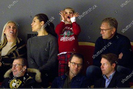 Crown Princess Victoria, Princess Estelle, Prince Daniel, Olle Westling and Daniel's sister Anna Westling Söderström with husband Mikael Söderström