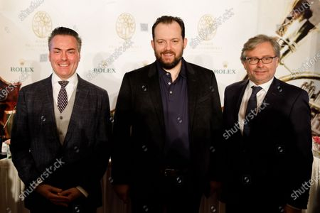 Daniel Froschauer(L), Chairman of the Vienna Philharmonic Orchestra, Latvian conductor Andris Nelsons (C) and Alexander Wrabetz (R), Director General of the national public service Austrian Broadcasting Corporation (Oesterreichischer Rundfunk, or ORF) pose for a picture before a press conference about the Vienna Philharmonic New Year's Concert 2020 at the Hotel Imperial in Vienna, Austria, 27 December 2019. The traditional concert is staged every year on 01 January.