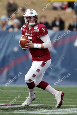 Temple quarterback Anthony Russo looks to pass against North Carolina during the first half of the Military Bowl NCAA college football game, in Annapolis, Md