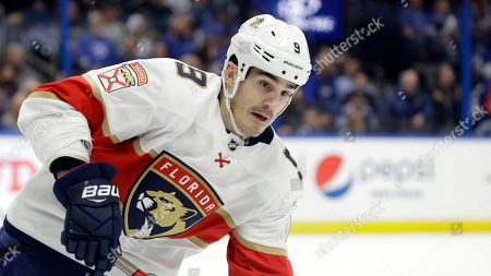 Florida Panthers center Brian Boyle (9) during the second period of an NHL hockey game against the Tampa Bay Lightning, in Tampa, Fla