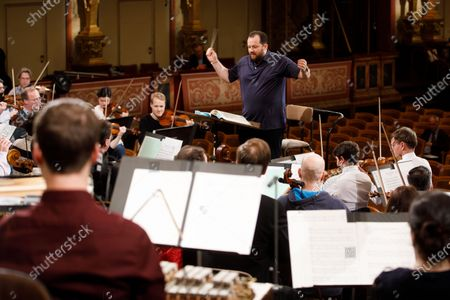 Latvian conductor Andris Nelsons performs during a rehearsal of the Wiener Philharmoniker (Vienna Philharmonic) New Year's Concert 2020 at the Musikverein Concert Hall in Vienna, Austria, 27 December 2019. The traditional concert is staged every year on 01 January