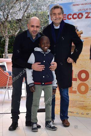 Checco Zalone, Nassor Said Birya and Pietro Valsecchi