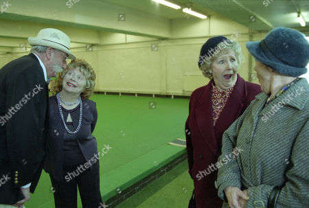 Stock Picture of Ep 3095 Monday 21st January 2002 Betty's suspicion that Seth is having an affair and decides to follow him to his bowling match, and is left heartbroken by the scene that awaits her. With Seth Armstrong, as played by Stan Richards ; Agatha Commons, as played by Angela Crow ; Betty Eagleton, as played by Paula Tilbrook ; Edna Birch, as played by Shirley Stelfox.