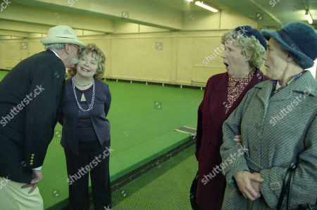 Stock Photo of Ep 3095 Monday 21st January 2002 Betty's suspicion that Seth is having an affair and decides to follow him to his bowling match, and is left heartbroken by the scene that awaits her. With Seth Armstrong, as played by Stan Richards ; Agatha Commons, as played by Angela Crow ; Betty Eagleton, as played by Paula Tilbrook ; Edna Birch, as played by Shirley Stelfox.