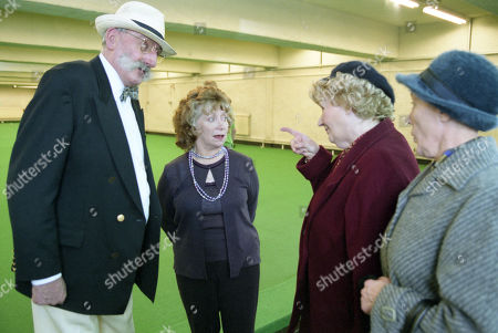 Stock Image of Ep 3095 Monday 21st January 2002 Betty's suspicion that Seth is having an affair and decides to follow him to his bowling match, and is left heartbroken by the scene that awaits her. With Seth Armstrong, as played by Stan Richards ; Agatha Commons, as played by Angela Crow ; Betty Eagleton, as played by Paula Tilbrook ; Edna Birch, as played by Shirley Stelfox.