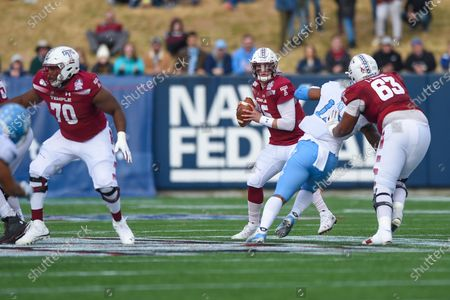 Quarterback Anthony Russo (15) of the Temple Owls drops back to pass during the matchup between UNC Tar Heels and the Temple Owls at the Military Bowl at the Navy-Marine Corps Memorial Stadium in Annapolis, MD